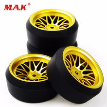 4Pcs/Set BBG+PP0370 1/10 Drift Tires & Wheel Rims with 6mm Offset fit On-Road RC Car Model Accessories
