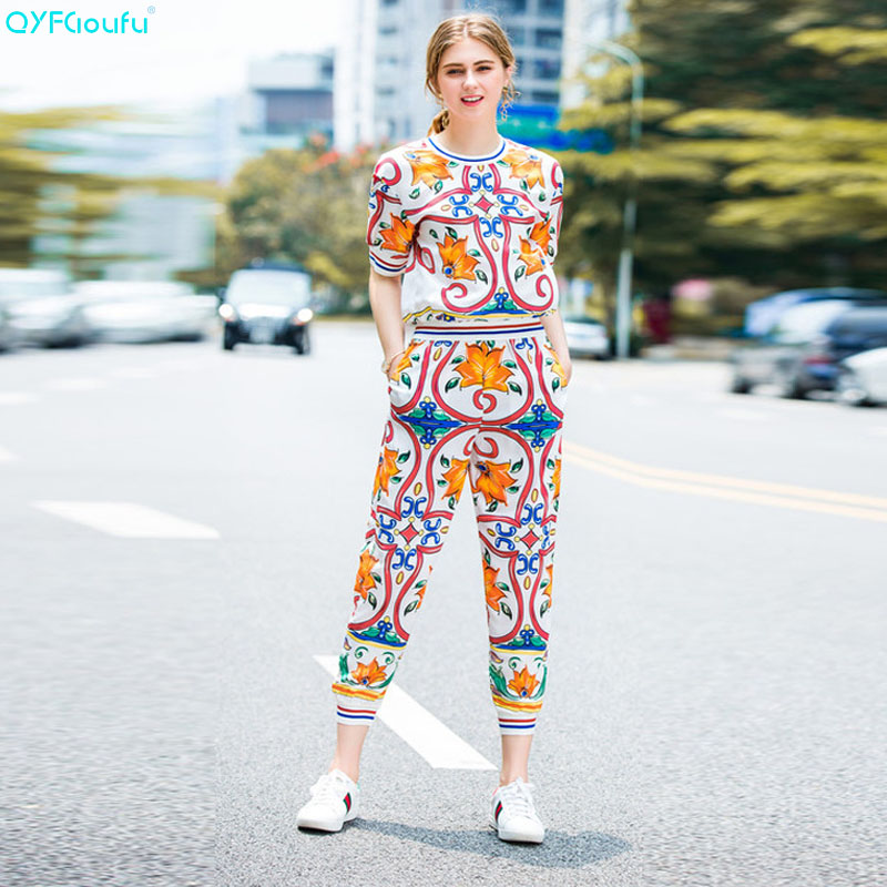 QYFCIOUFU Fashion Runway Designer 2 Piece Set Women Clothing Sets Pullover Top + Retro Art Pattern Printed Long Sweat Pants Set