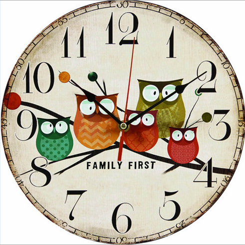 2016 Owl Wall Clock Art Large Wall Clock Vintage Wooden Wall Clock Large Shabby Rustic Kitchen Home Antique Style Wall Clock