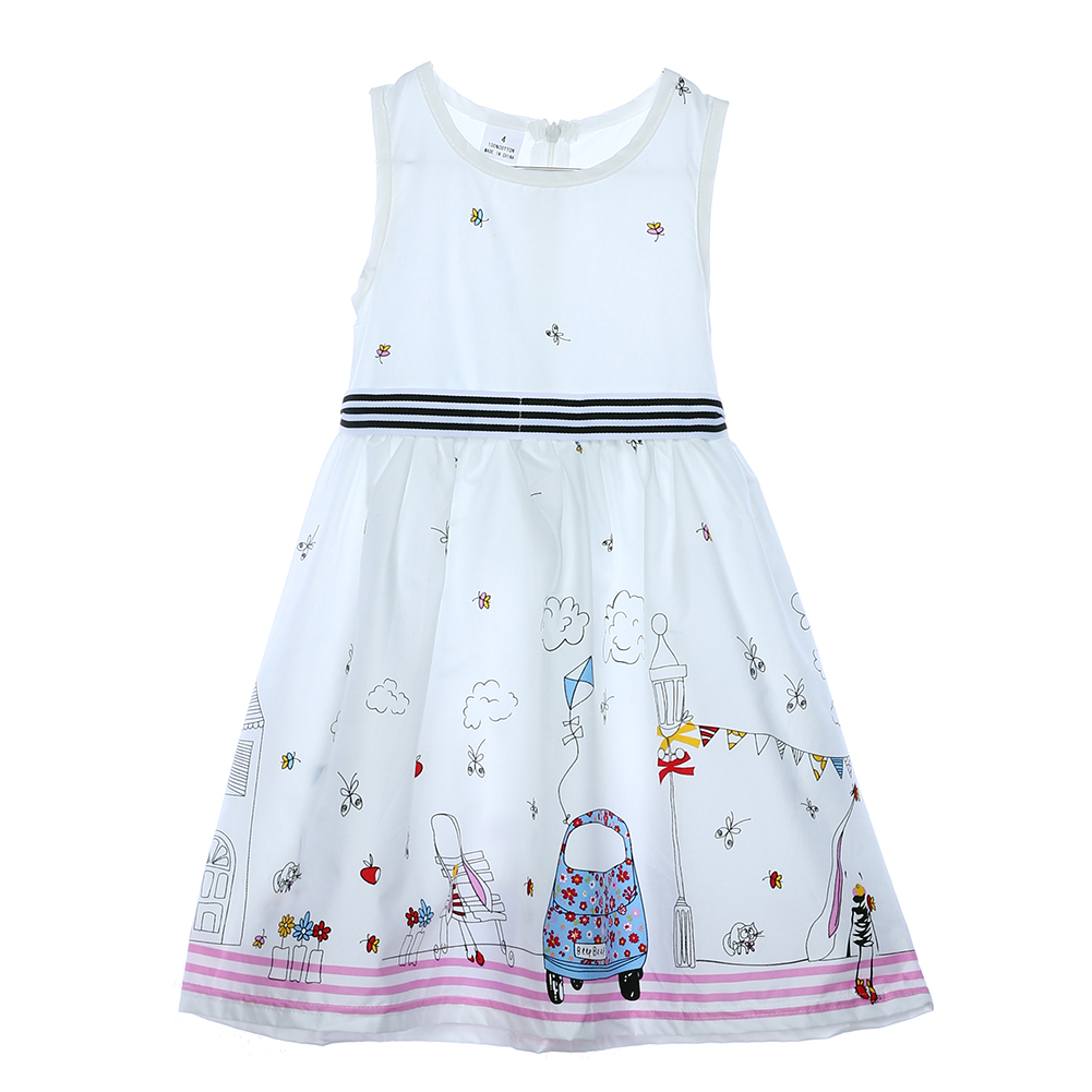 Children Dress Summer Toddler Baby Girls White Sleeveless Print Dress Kids Party Pageant Princess Dresses Kids Clothes for 3-8Y