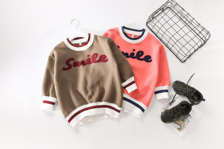 Baby Letter Print Hoodies Girls Autumn Winter Full Sleeve Kids Thickened Clothes Children Casual Fashion Clothing 5pcs/LOT