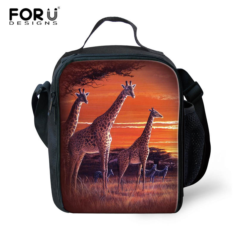 FORUDESIGNS Lunch Bag Giraffe Animal Pud Dog Pattern Polyester for Kids Food Picnic Bags Insulated Storage Fresh Keeping Child