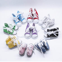 7.5cm Denim Canvas Mini Doll Shoes Toy Hand Made Doll Accessories Doll Boots Sneakers Girls Clothes for Bjd 1/4 Doll(China)