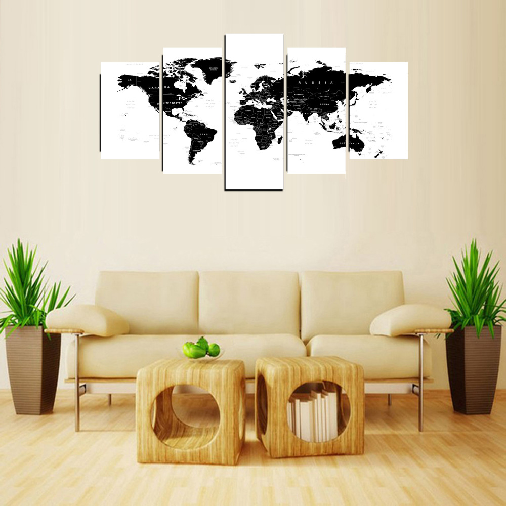 5 Panels Canvas Print Black and White World Map Painting for Living ...