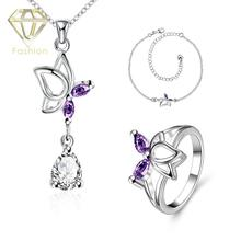 Online Jewellers Trendy Silver Plated Cute Butterfly Inlaid Blue/Purple/White Crystal Pendant Necklace&Ring&Anklet Jewelry Sets
