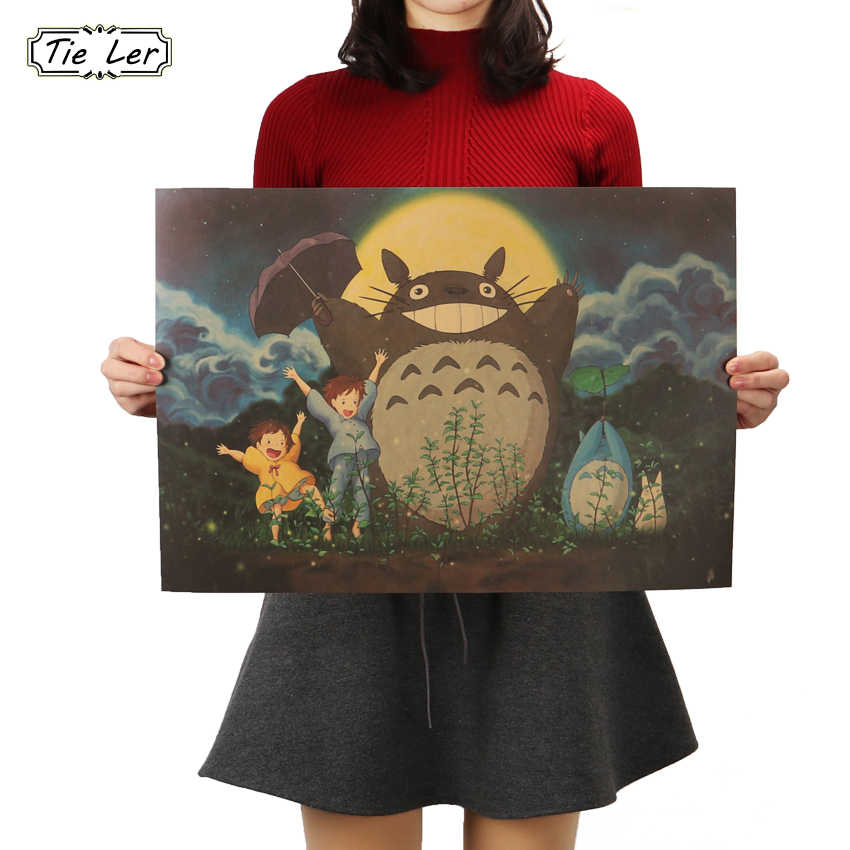 TIE LER Vintage Cartoon Anime Totoro Poster Cafe Kid Home Decor Retro Kraft Paper Wall Sticker 51.5X36cm