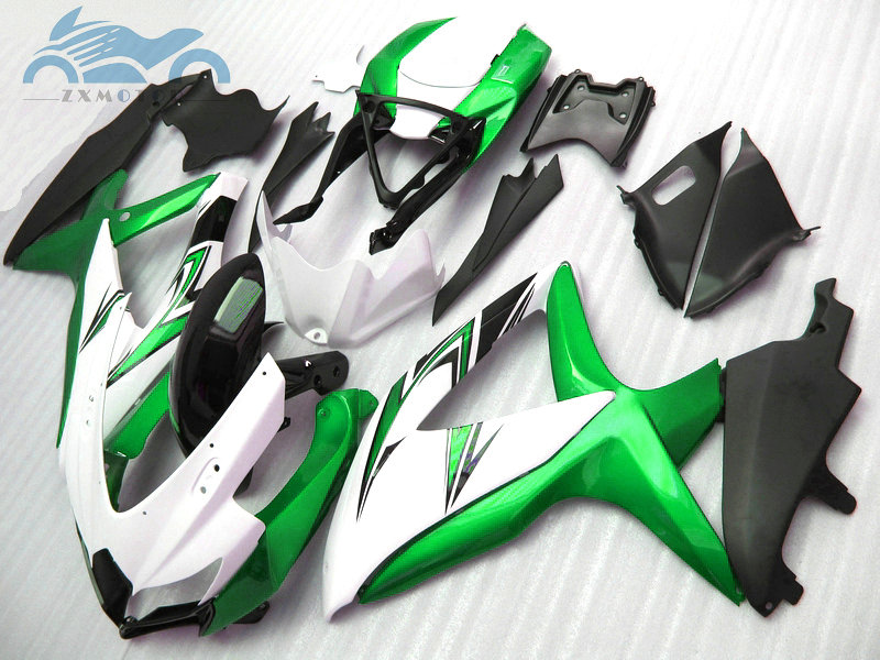 100% Fit fairings kit for SUZUKI <font><b>2008</b></font> 2009 2010 GSXR600 750 <font><b>K8</b></font> <font><b>GSXR</b></font> <font><b>600</b></font> <font><b>K8</b></font> K9 08 09 10 motorcycle full fairing kits green white image
