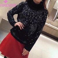 Для женщин водолазка пуловеры Повседневное осень зима 2019 Мода Цветочный кофты с длинным рукавом толстовки блузка Короткий пуловер
