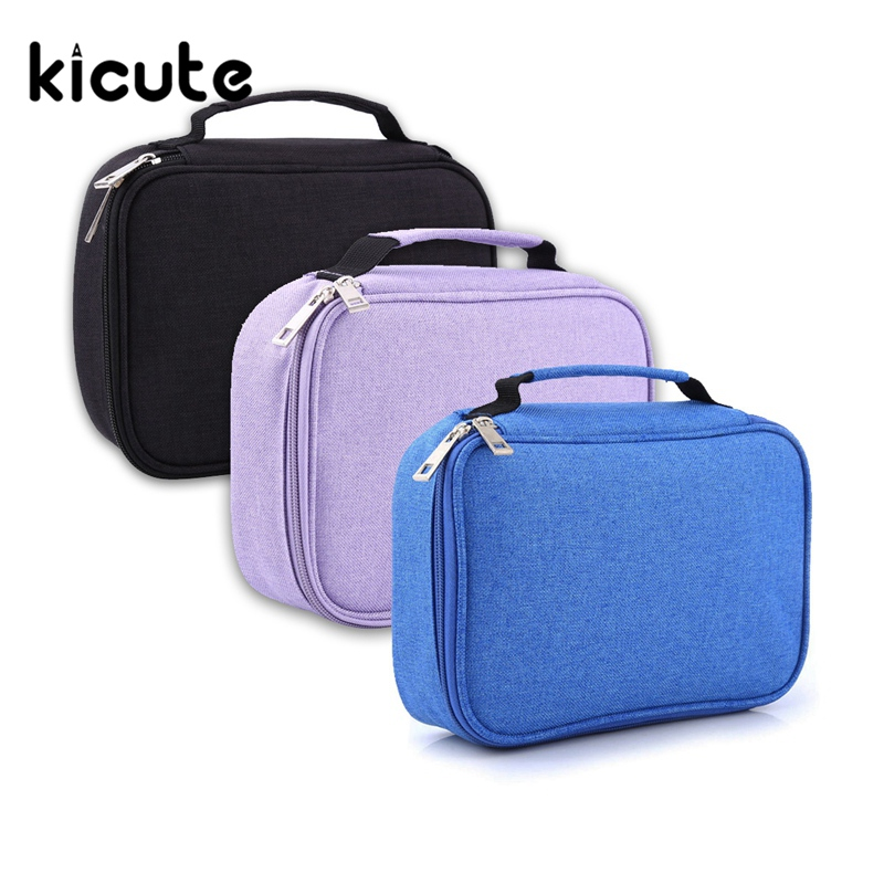 Kicute 1pcs High Quality 72 Slot Student Fabric Pen Bag Pencil Case Pouch Box Women Cosmetic Brush Holder Office School Supplies perfect pencil case pencil bag feather sleeve pencil case for 72 pen color blue