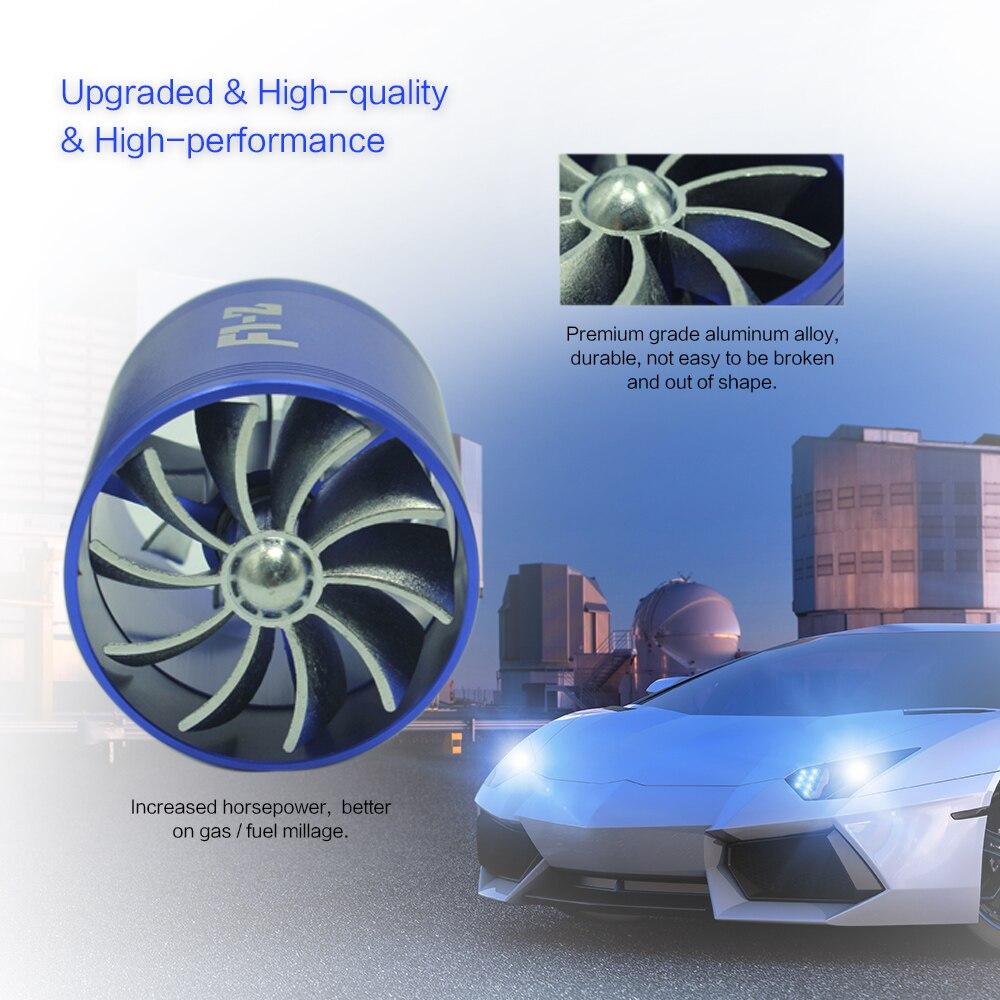 turbina con 3 supporti in gomma Doppio ventilatore a turbina per auto universale filtro aria a gas e carburante