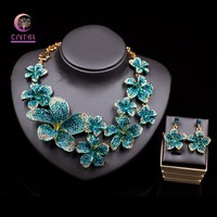 Trendy Bridal Jewelry Sets Wedding Necklace Earring For Brides Party Accessories Gold Color Big Flowers Rhinestones