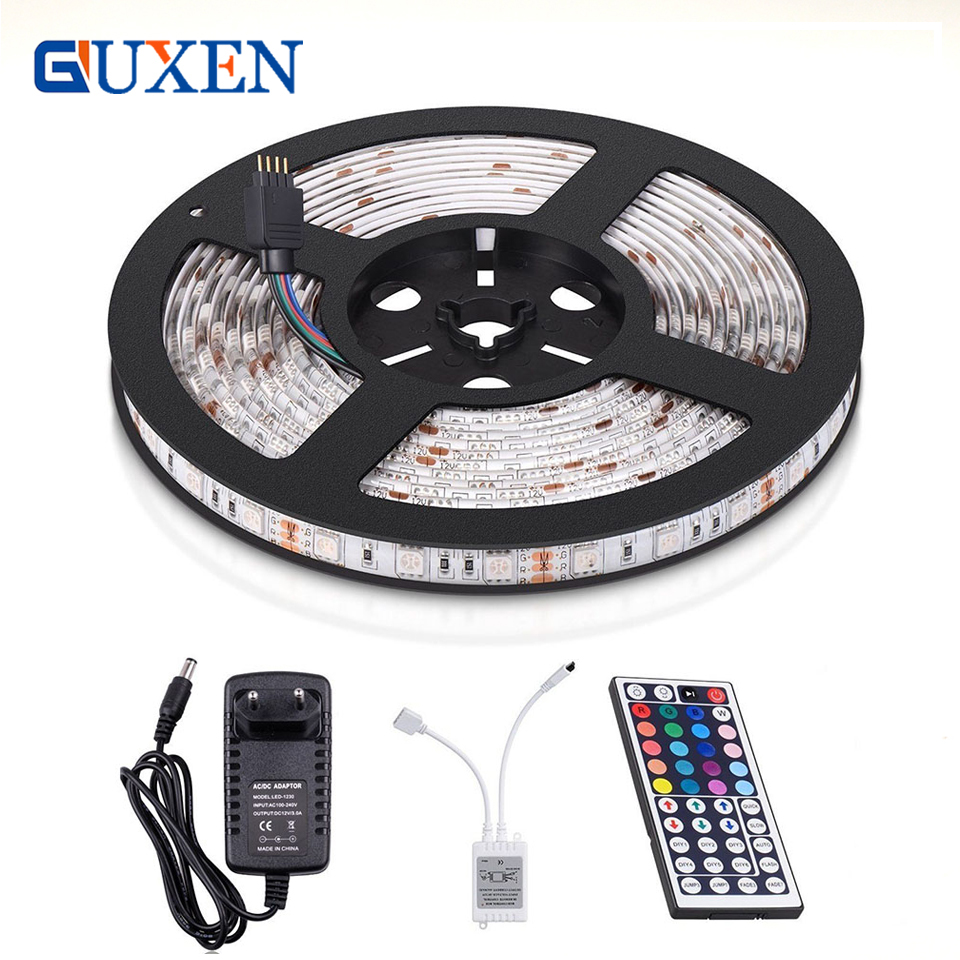 guxen-5050-rgb-300leds-flexible-color-changing-full-kit-led-strip-light-with-44-keys-ir-remote-controller12v-3a-power-supply