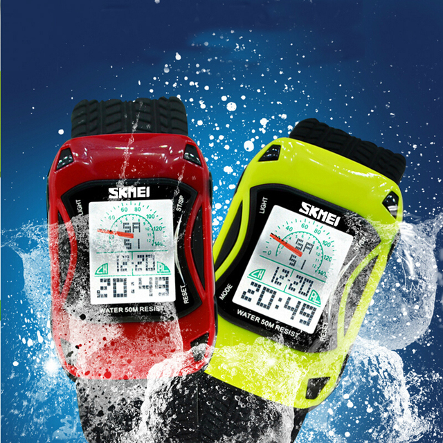 Famous Brand Children Led Digit Watches Sports Car Cartoon Watch Waterproof Chil
