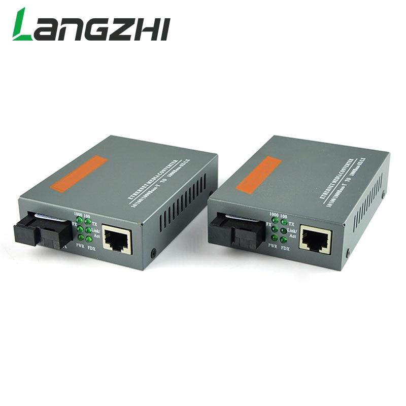LANGZHI 1 Pair HTB-GS-03 A/B Gigabit Fiber Optical Media Converter Single Mode Transceiver SC Port 20KM External Power Supply