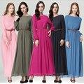 Горячая мусульманская женская Fashiom платье O - с длинным рукавом пят империи талии макси свободного покроя мусульманская женская абая хиджаб кафтан платье