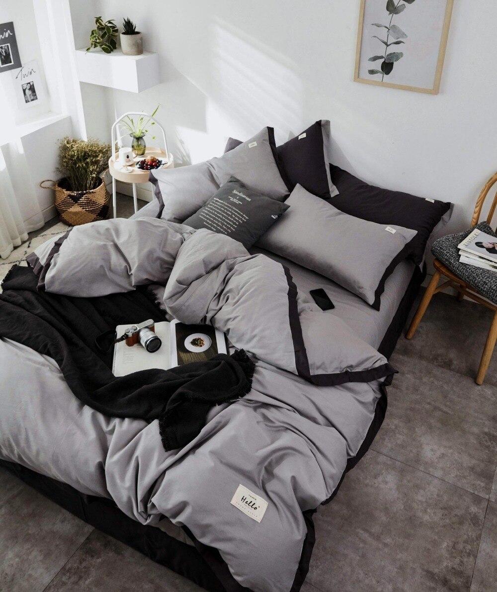 Ensemble de literie Style nordique ensemble de lit luxe coton Twin Queen King Size couleur chaude housse de couette ensemble drap de lit 3 styles - 3