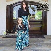 Mùa hè Mommy và Con Gái Cô Gái Phù Hợp Với Dresses Mẹ Trang Phục Mùa Thu Váy Gia Đình Phù Hợp Với Quần Áo Chất Lượng Cao Maxi Dài Ăn Mặc