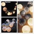 20 35 Gray Cotton Ball Light Holiday Lighting Christmas Fairy Lights Outdoor Wedding Garden Decoration Guirnalda Luces Luminaria