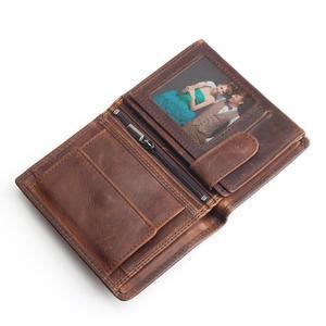 Image 2 - Vintage designer 100% genuíno carteiras masculinas couro dos homens curto carteira bolsa titular do cartão moeda bolso masculino carteiras