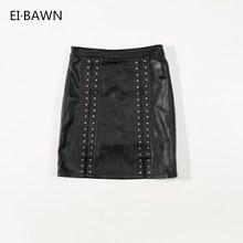 Female Black Skirts 4XL Genuine Leather Plus Size Rivet Decoration Elegant Fashion Street Style Real Sheepskin Women Skirt