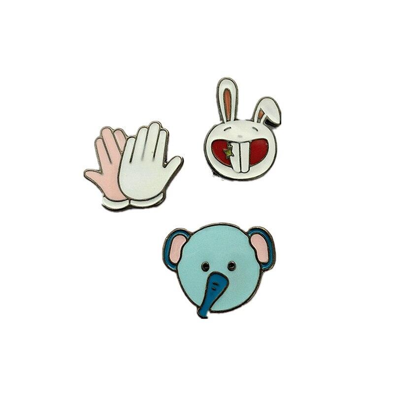 ④Envío libre de dibujos animados lindo conejo elefante mano metal ...