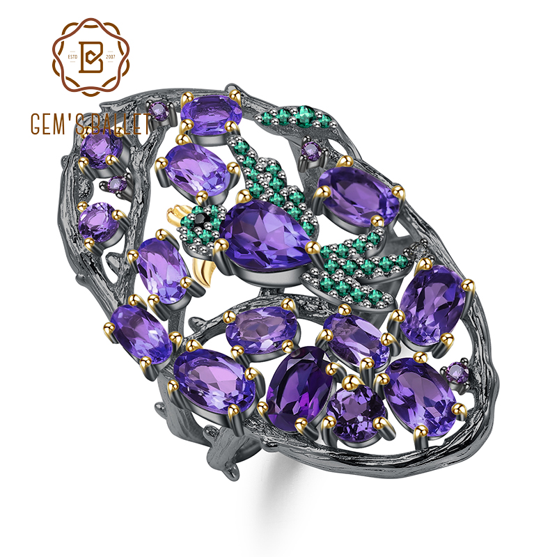 GEM'S BALLET 4.97Ct Natural Amethyst Finger Rings 925 Sterling Silver Handmade Hollow Element Ring for Women Bijoux Fine Jewelry-in Rings from Jewelry & Accessories    1