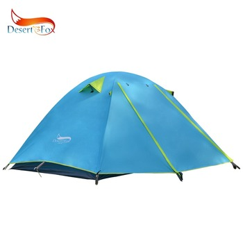 Desert&Fox 2-3 People Camping Tent, Aluminum Poles Outdoor Travel Double Layer Waterproof Windproof Lightweight Backpacking Tent 2