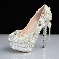 Новый супер Обувь на высоком каблуке со стразами свадебные туфли с жемчугом женские свадебные туфли невесты роскошные HS154 платформы с кругл