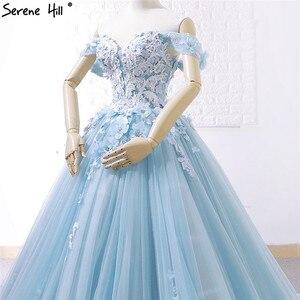 Image 5 - כחול כבוי כתף בעבודת יד פרחי שמלות כלה 2020 סקסי ללא שרוולים קריסטל היוקרתית כלה שמלות תמונה אמיתית 66706