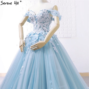 Image 5 - Blue Off Shoulder Handmade Flowers Wedding Dresses 2020 Sexy Sleeveless Crystal High end Bridal Gowns Real Photo 66706
