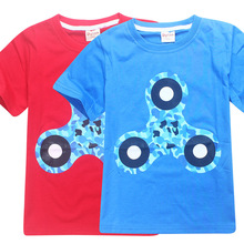 Boy t Shirts for Children Cotton 3D fidget spinner Printed T-Shirts for Girl Kids Clothes Short Sleeve Tops Tees 4-10 Years цена и фото