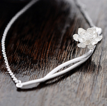 925 серебряные ожерелья и подвески для женщин цветок лотоса ожерелье-бесплатная серебряные ювелирные изделия кольер роковой бижутерии D82