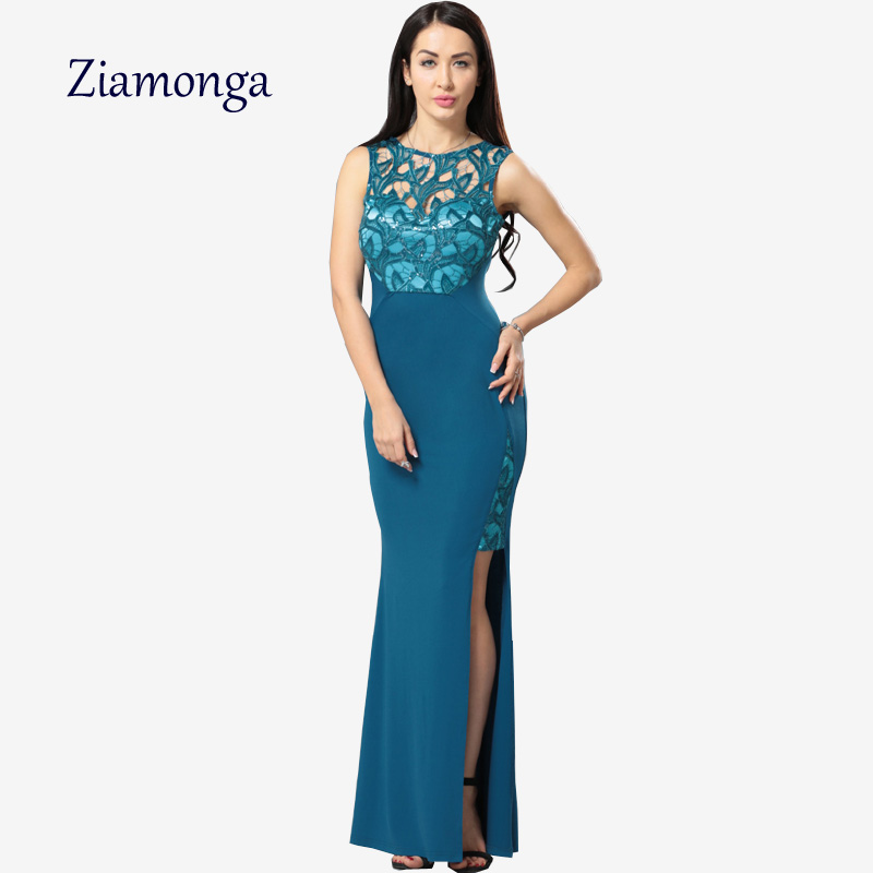 Ziamonga robe femme vestido longo summer split sequin lace for Sexy wedding reception dresses