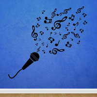 Microphone Music Notes Wall Stickers DIY Removable Vinyl Adhesive Stickers Home Decor Wall Decals For Nursery