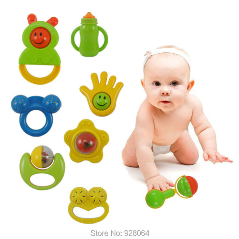 8pcs baby rattles 0 1 year old newborn teethers baby hand ...