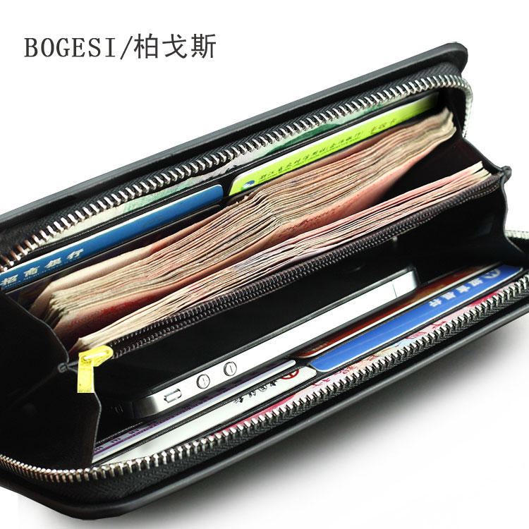 Men s leather wallet large capacity long wallet clutch purse zipper wallet  card bit more than men multifunction Post 71b064c1c8f4
