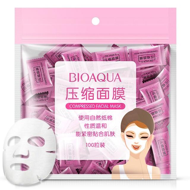100Pcs/lot BIOAQUA Compression Face Mask Whitening Anti Acne Natural Cotton Close To The Skin