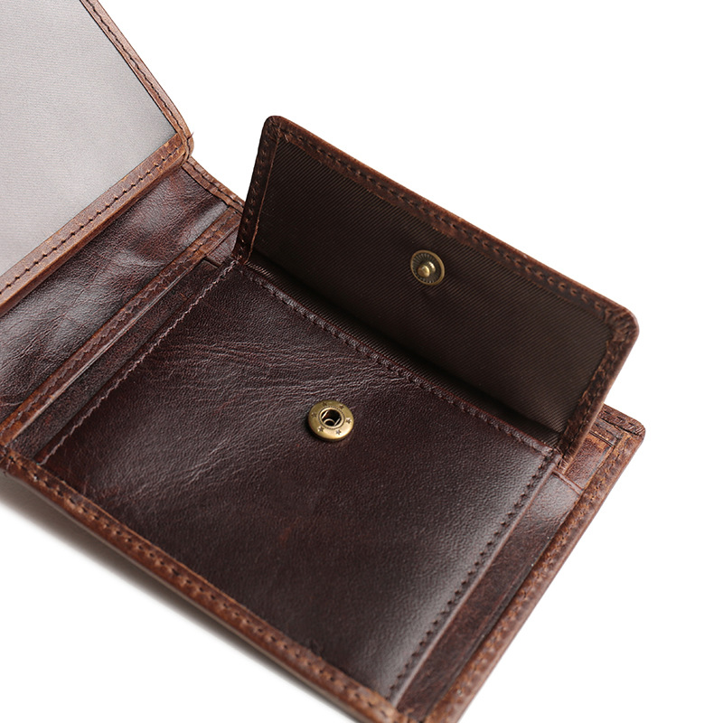 HENGSHENG cow leather men wallet with quality genuine leather short men wallet for fashion business men cross wallet - 3