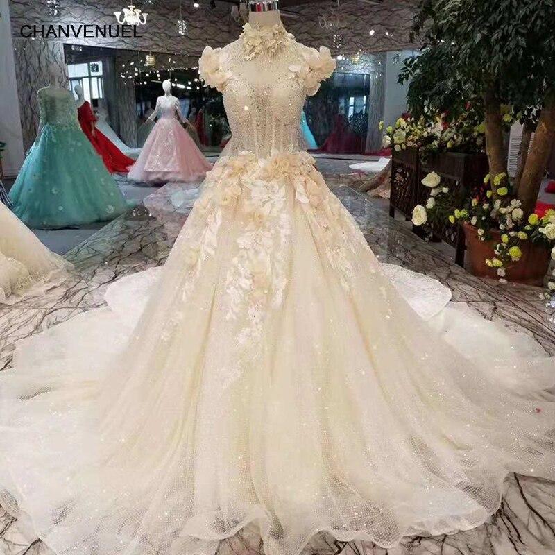 dc1b31ae7b LS11013 pétalo flores boda Vestido de estilo princesa alta cuello mangas  novia elegante vestido largo tren 2019 último nuevo diseño en Vestidos de  novia de ...