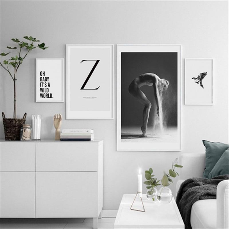 HAOCHU Nordic Canvas Painting Modern Black White Word Wall