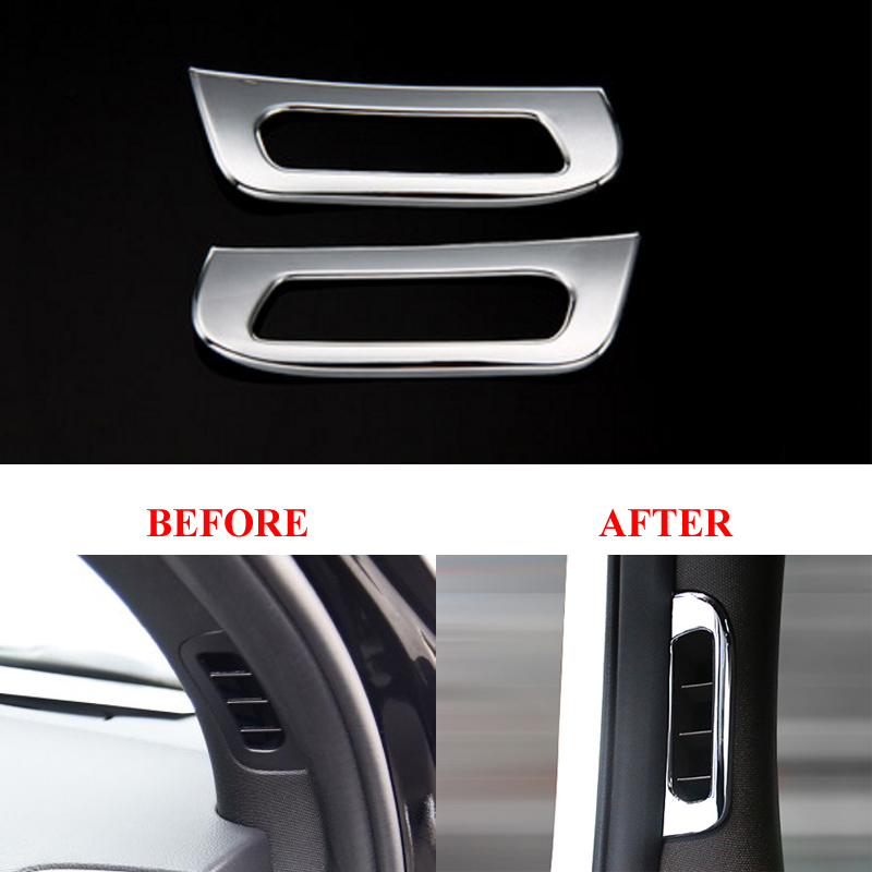 2pcs Car Inner Front Pillar Air Vent Outlet Frame Cover Trim Sticker Interior Accessory For Jeep Grand Cherokee 2011-2017 interior vent outlet cover trim 7pcs for lexus rx200t rx450h 2016 left hand drive car