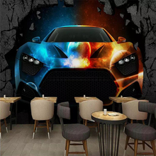 Custom wallpaper murals 3d bar KTV cool luxury car broken wall background high-grade waterproof silk material цена 2017