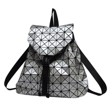 Women Backpack Feminine Geometric Plaid Sequin Female Backpacks For Teenage Girls Bagpack Drawstring Bag