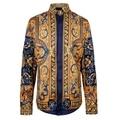 2016 camisas dos homens de luxo da marca camisas camiseta masculina de ouro real vintage flor retro barocco barroco da longo-luva camisa sociais
