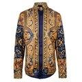 2016 camisas para hombre marca de lujo barroco camisas real flor de oro camiseta masculina vintage retro barroco de manga larga camisa social