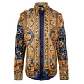 2017 Chemise Homme Marque Luxe Baroque Shirts Mens Shirts Luxury Brand Gold Men Camisa Social Royal Vintage Flower Retro Barocco