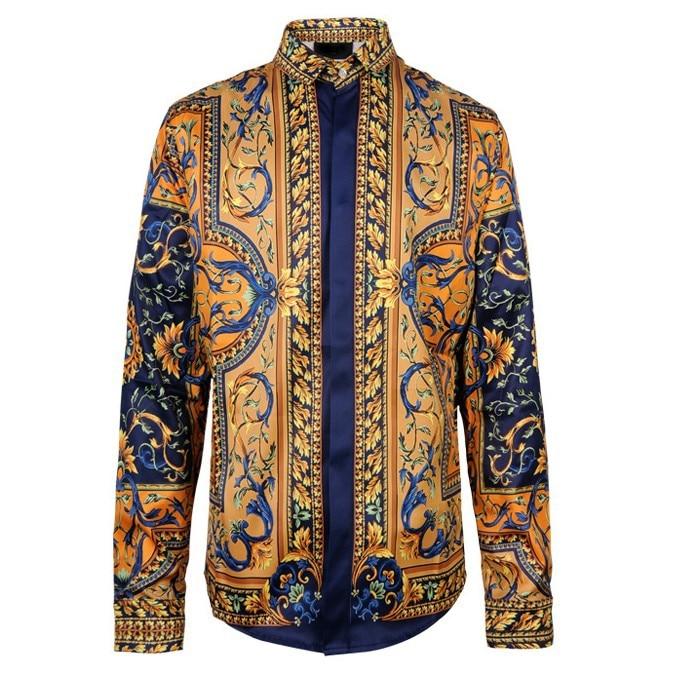 2018 Chemise Homme Marque Luxe Baroque Chemises Hommes Chemises De Mode Vintage Hommes Chemises De Luxe Noir Or Imprimer Chemises Hommes Rétro