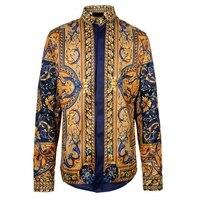 2018 Chemise Homme Marque Luxe Baroque Shirts Mens Fashion Shirts Vintage Mens Shirts Luxury Black Gold Print Shirts Mens Retro