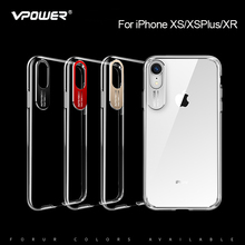 For iPhone XS XR Max case Vpower Metal Crystal Clear pc hard Transparent Phone for iphone xr xs max cover shell