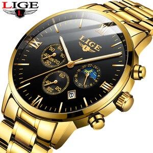 Image 1 - LIGE montre bracelet de Sport pour hommes, qualité militaire, cuir et acier, Top luxe, marque montre étanche décontractée